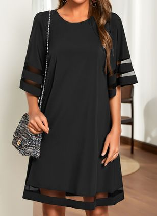 Casual Solid Tunic Round Neckline Shift Dress (1522565)