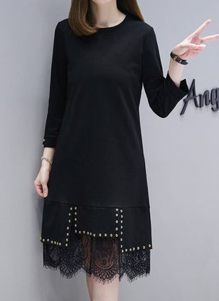 Solid Lace 3/4 Sleeves Knee-Length Shift Dress