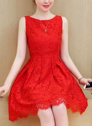 Solid Lace Skater Sleeveless Sheath Dress
