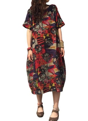 Floral Half Sleeve Midi Shift Dress