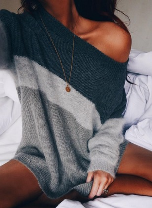 Acrylic Round Neckline Color Block Loose None Sweaters