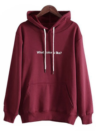 Alphabet Casual Cotton Hooded Sweatshirts
