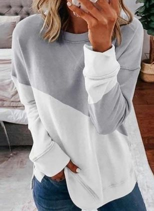 Color Block Casual Round Neckline Long Sleeve Blouses (4864451)