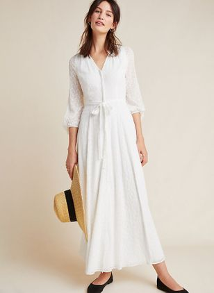 Solid Half Sleeve Maxi X-line Dress