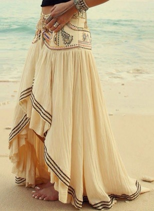 Polyester Solid Maxi Casual Embroidery Skirts