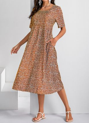 Casual Floral Round Neckline Midi A-line Dress (4864772)