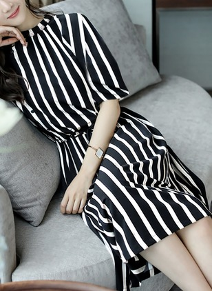 Stripe Drop waist Half Sleeve Knee-Length A-line Dress