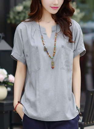 Solid Collar Short Sleeve Casual T-shirts