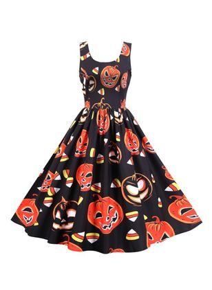 Halloween Color Block Round Neckline Midi X-line Dress (109973473)
