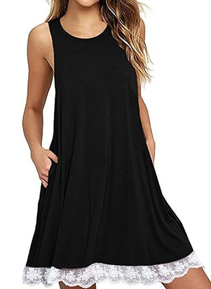 Solid Lace Skater Camisole Neckline A-line Dress