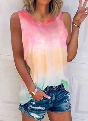 Color Block Round Neck Sleeveless Casual T-shirts (4046317)