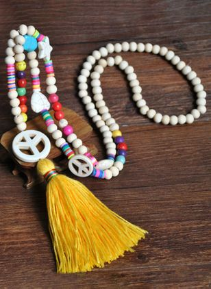 Casual Tassel No Stone Pendant Necklaces (147090918)