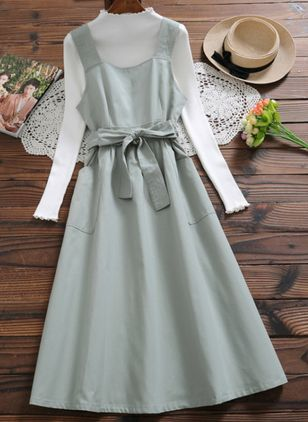 Solid Pockets Long Sleeve Midi A-line Dress