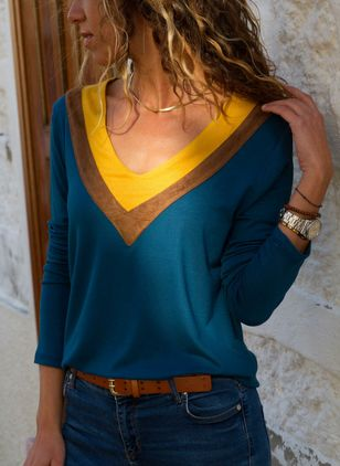 Color Block Casual V-Neckline Long Sleeve Blouses (4663833)