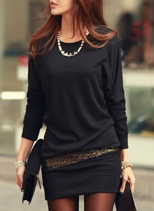Solid Sequins Long Sleeve Above Knee Sheath Dress