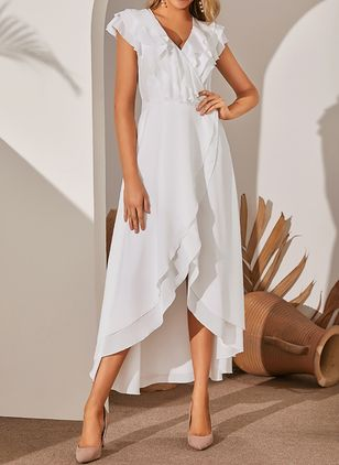 Elegant Solid V-Neckline High Low X-line Dress (1381880)