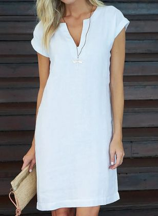 Casual Solid Tunic V-Neckline A-line Dress (4073345)