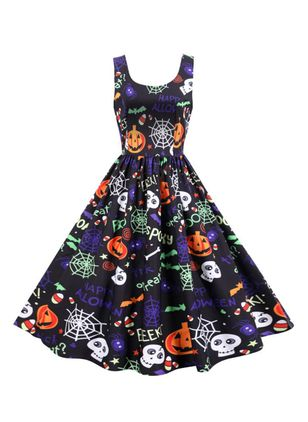 Halloween Color Block Round Neckline Midi X-line Dress (109973470)