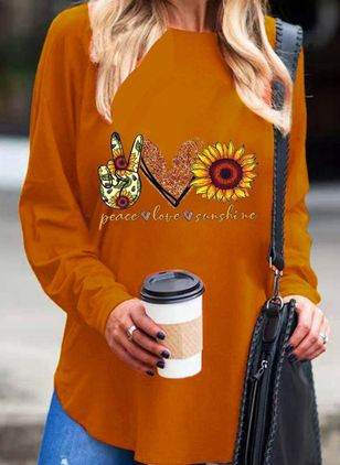 Floral Round Neck Long Sleeve Casual T-shirts (107562852)
