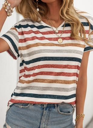 Stripe V-Neckline Short Sleeve Casual T-shirts (148038795)
