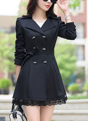 Long Sleeve Lapel Sashes Buttons Trench Coats