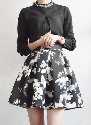 Polyester Floral Above Knee Cute Ruffles Skirts