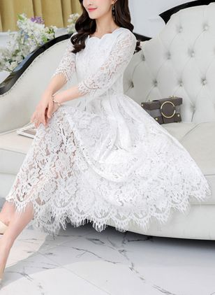 Solid Lace 3/4 Sleeves Midi A-line Dress