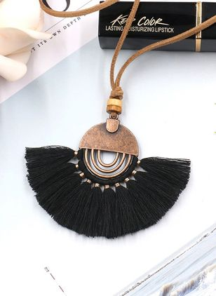 Casual Tassel No Stone Pendant Necklaces (100667974)
