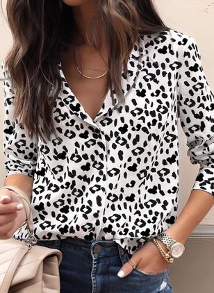 Leopard Vintage Collar Long Sleeve Blouses