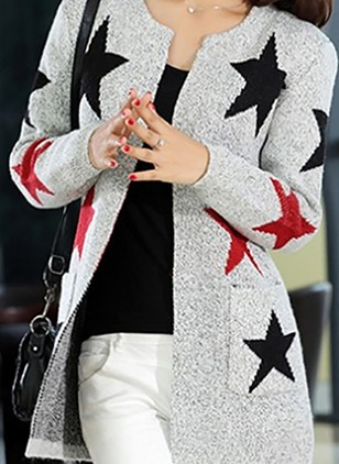 Polyester Long Sleeve Round Neck Pockets Others Coats & Jackets