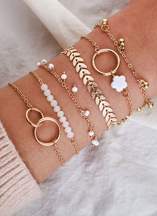 Casual Floral Round Bracelets (147244016)