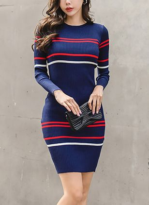 Color Block Pencil Long Sleeve Above Knee Sheath Dress