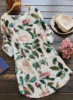 Floral Casual Cotton Round Neckline Long Sleeve Blouses