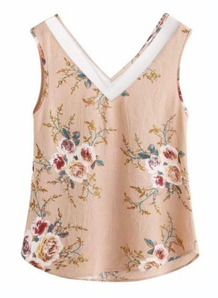 Floral Casual Polyester V-Neckline Sleeveless Blouses