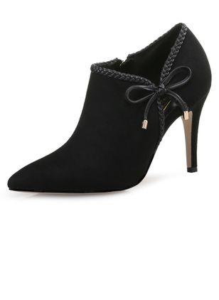 Women's Bowknot Closed Toe Nubuck Stiletto Heel Pumps