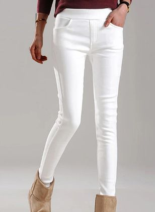 Casual Skinny Pockets Mid Waist Polyester Pants (146966955)