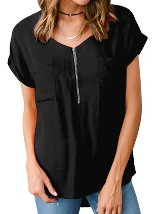 Solid V-Neckline Casual Shift Blouses Short Sleeve Plus Blouses (4089283)