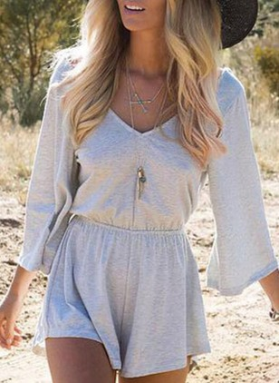 Cotton Solid 3/4 Sleeves Jumpsuits & Rompers