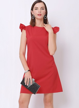 Solid Ruffles Sleeveless Shift Dress