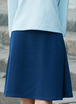 Cotton Solid Above Knee Casual Skirts