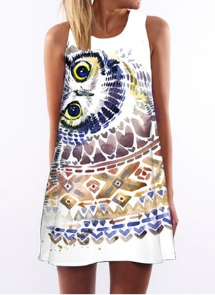 Animal Tank Sleeveless Mini Shift Dress
