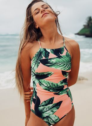 Polyester Floral One-piece Swimwear