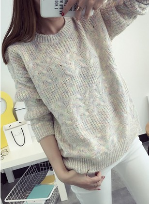 Wool Round Neckline Color Block Loose None Sweaters