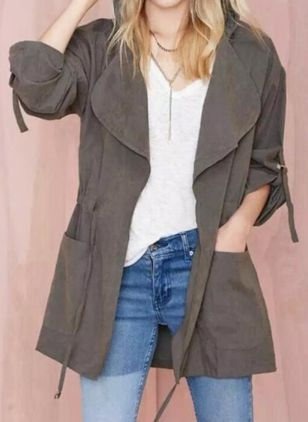 Long Sleeve Hooded Sashes Pockets Coats (109973609)