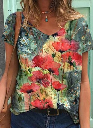 Floral V-Neckline Short Sleeve Casual T-shirts (147066057)