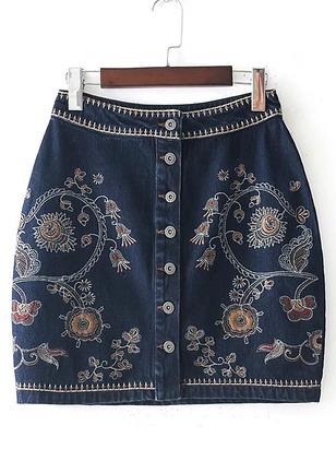 Cotton Floral Above Knee Vintage Buttons Skirts