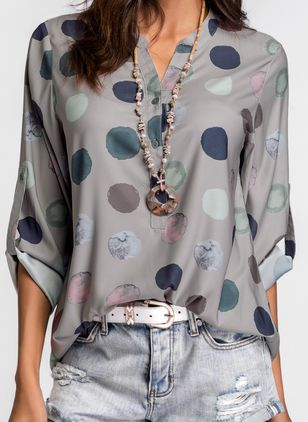 Polka Dot Casual Stand Collar Long Sleeve Blouses (1509455)