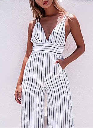 Cotton Stripe Sleeveless Jumpsuits & Rompers