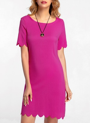 Solid Short Sleeve Shift Dress