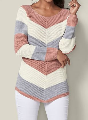 Round Neckline Color Block Long Shift Sweaters